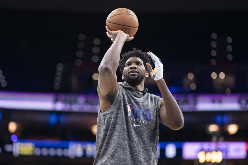 After undergoing surgery on his left ring finger two weeks ago, Joel Embiid hopes to make his return next week. (Mitchell Leff/Getty Images)