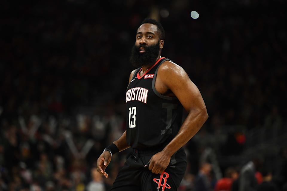 MILWAUKEE, WISCONSIN - MARCH 26:  James Harden #13 of the Houston Rockets walks backcourt during a game against the Milwaukee Bucks at Fiserv Forum on March 26, 2019 in Milwaukee, Wisconsin. NOTE TO USER: User expressly acknowledges and agrees that, by downloading and or using this photograph, User is consenting to the terms and conditions of the Getty Images License Agreement. (Photo by Stacy Revere/Getty Images)