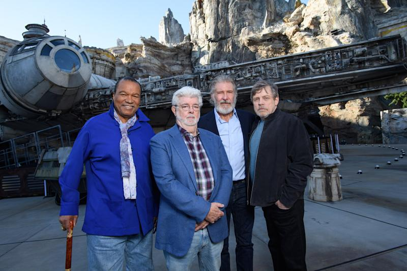 ANAHEIM, CA - MAY 29: In this handout photo provided by Disneyland Resort, (L-R) Billy Dee Williams, George Lucas, Harrison Ford and Mark Hamill attend the pre-opening launch of Star Wars: Galaxy's Edge at Disneyland on May 29, 2019 in Anaheim, California. (Photo by Richard Harbaugh/Disneyland Resort via Getty Images)
