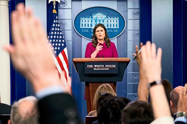 White House press secretary Sarah Sanders calls on a reporter during a press briefing in January at the White House. (Photo: Andrew Harnik/AP)