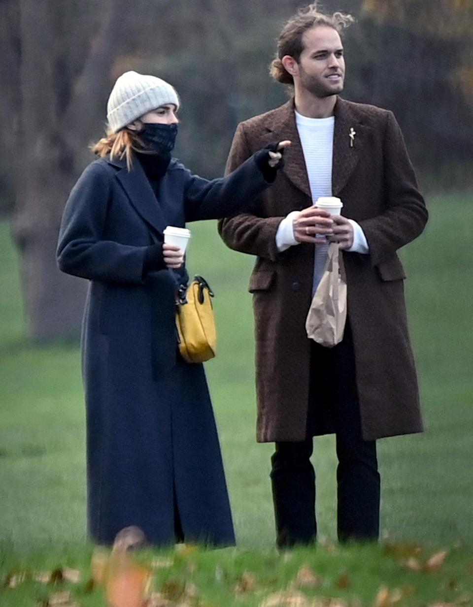 <p>Emma Watson and boyfriend Leo Robinton make a rare appearance together, while out for a coffee date, on Wednesday in Primrose Hill, London.</p>