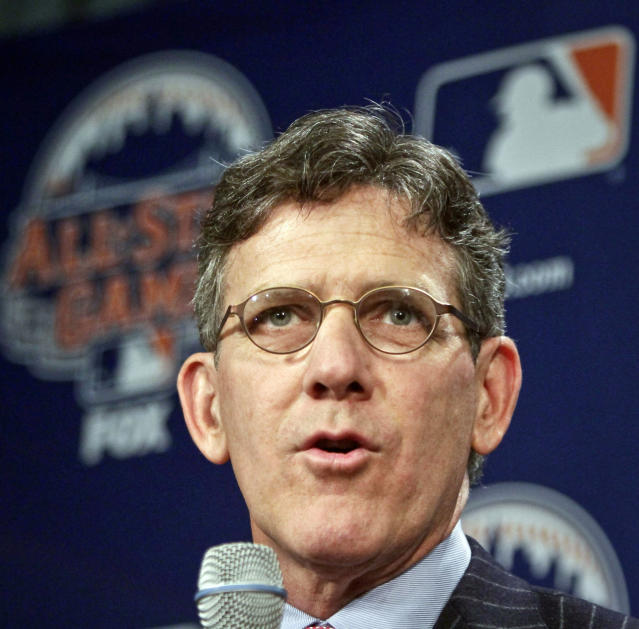 FILE - In this April 24, 2013, file photo, Major League Baseball Executive Vice President of Business Tim Brosnan speaks during a news conference to outline the festivities for baseball's All-Star game in New York. Baseball's 30 owners will meet in Baltimore this week to vote on Major League Baseball Commissioner Bud Selig's replacement. A seven-man committee whittled down an expansive list to three candidates: MLB Chief Operating Officer Rob Manfred, Boston Red Sox Chairman Tom Werner and MLB Executive Vice President of Business Tim Brosnan. (AP Photo/Bebeto Matthews, File)