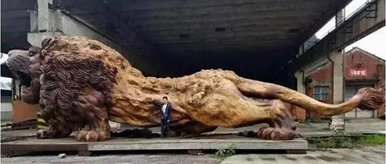 The scammer pretended to seek investors to cover $5 million in transportation costs to ship a 500-ton lion sculpture from China.