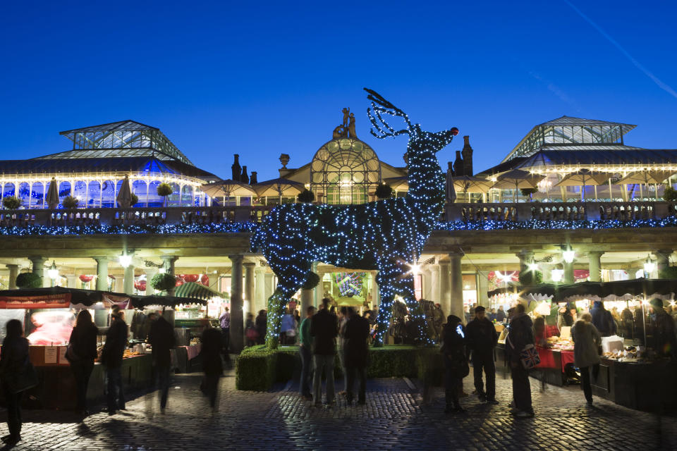"""<p>On November 14 at 5.30pm, <a href=""""https://www.coventgarden.london/christmas-2017"""" rel=""""nofollow noopener"""" target=""""_blank"""" data-ylk=""""slk:Covent Garden"""" class=""""link rapid-noclick-resp"""">Covent Garden</a> will switch on its huge Christmas light display featuring 40 mistletoe chandeliers and over 100,000 individual lights. As well as a huge Christmas tree to marvel at, there'll be performances from West End musical '42nd Street', an appearance from Pudsey and lots of in-store shopping events. </p>"""