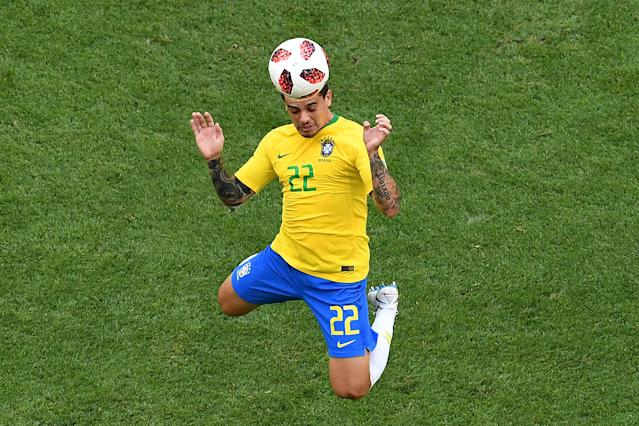 <p>Brazil's defender Fagner heads the ball during the Russia 2018 World Cup round of 16 football match between Brazil and Mexico at the Samara Arena in Samara on July 2, 2018. (Photo by Kirill KUDRYAVTSEV / AFP) </p>