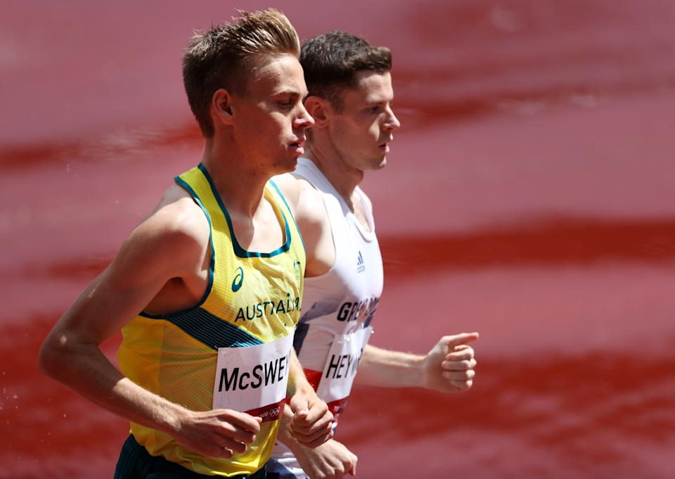 Seen here, Stewart McSweyn running in the heats of the 1500m at the Tokyo Olympics.