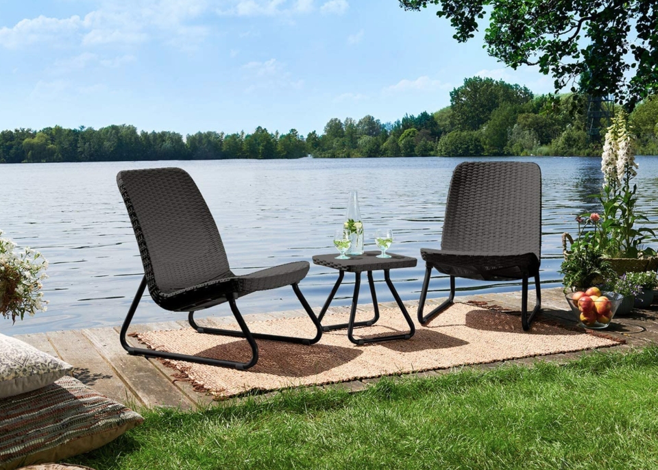 Keter 3-Piece All-Weather Chair & Table Set in Grey (Photo via Amazon)