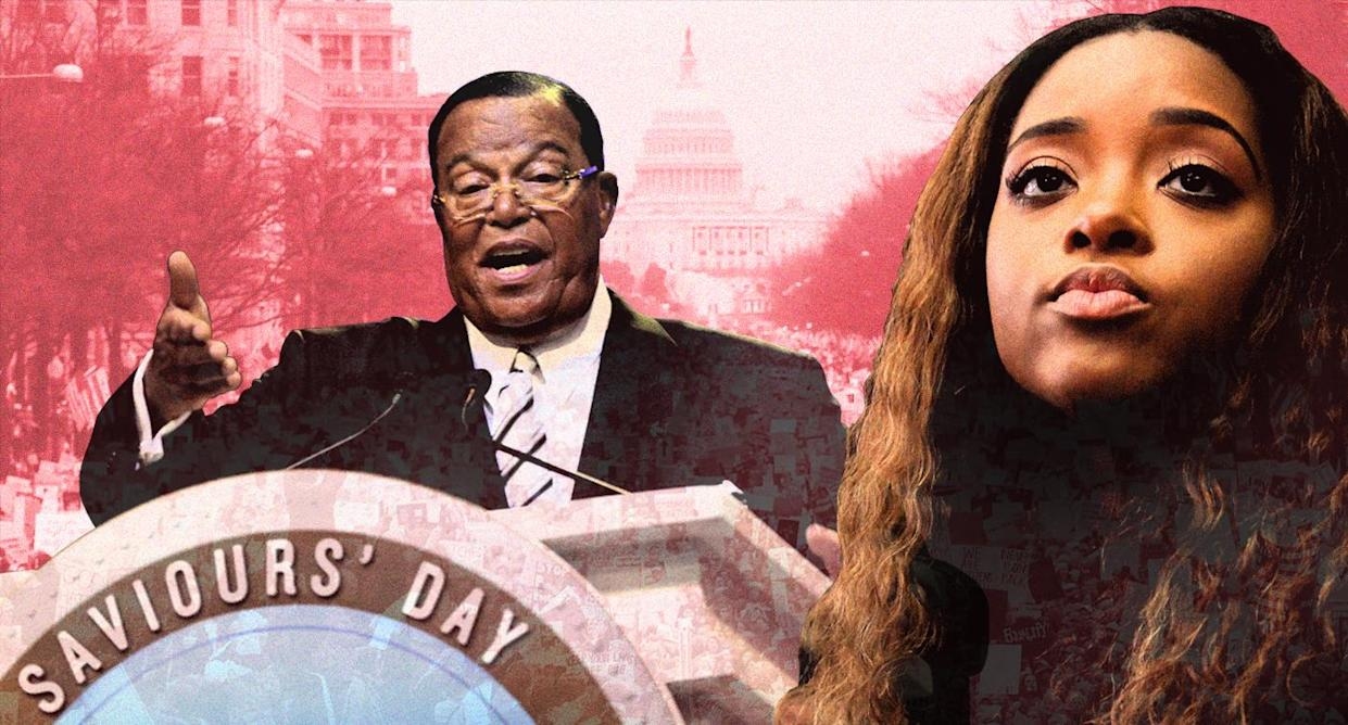 Nation of Islam leader Louis Farrakhan, speaking at the Watergate Hotel in 2017, and Tamika Mallory, one of the Women's March leaders. (Photo illustration: Yahoo News; photos: Mark Wilson/Getty Images, Bebeto Matthews/AP, Mario Tama/Getty Images)