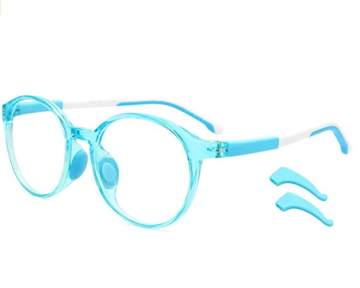 """These <a href=""""https://amzn.to/2P3HKWF"""" rel=""""nofollow noopener"""" target=""""_blank"""" data-ylk=""""slk:acrylic kids blue light glasses"""" class=""""link rapid-noclick-resp"""">acrylic kids blue light glasses</a> are available in two colors. Find them for $15 on <a href=""""https://amzn.to/2P3HKWF"""" rel=""""nofollow noopener"""" target=""""_blank"""" data-ylk=""""slk:Amazon"""" class=""""link rapid-noclick-resp"""">Amazon</a>."""