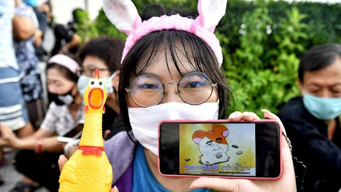 Youth activists have adopted the Japanese hamster character Hamtaro - seen on the phone - as a protest symbol