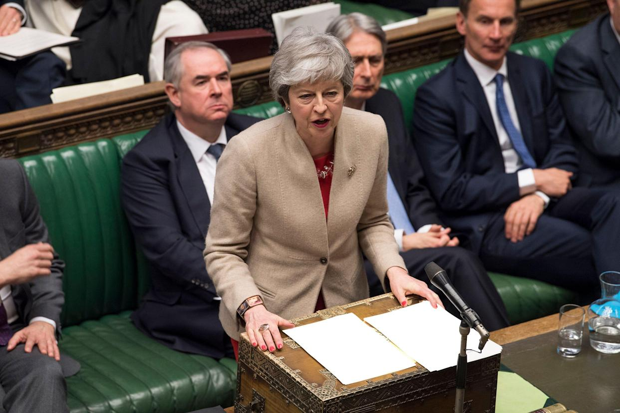 Britain's Prime Minister Theresa May speaks to lawmakers in the House of Commons, London, Friday March 29, 2019. U.K. lawmakers on Friday rejected the government's Brexit divorce deal with the European Union for a third time. (Mark Duffy/House of Commons via AP)
