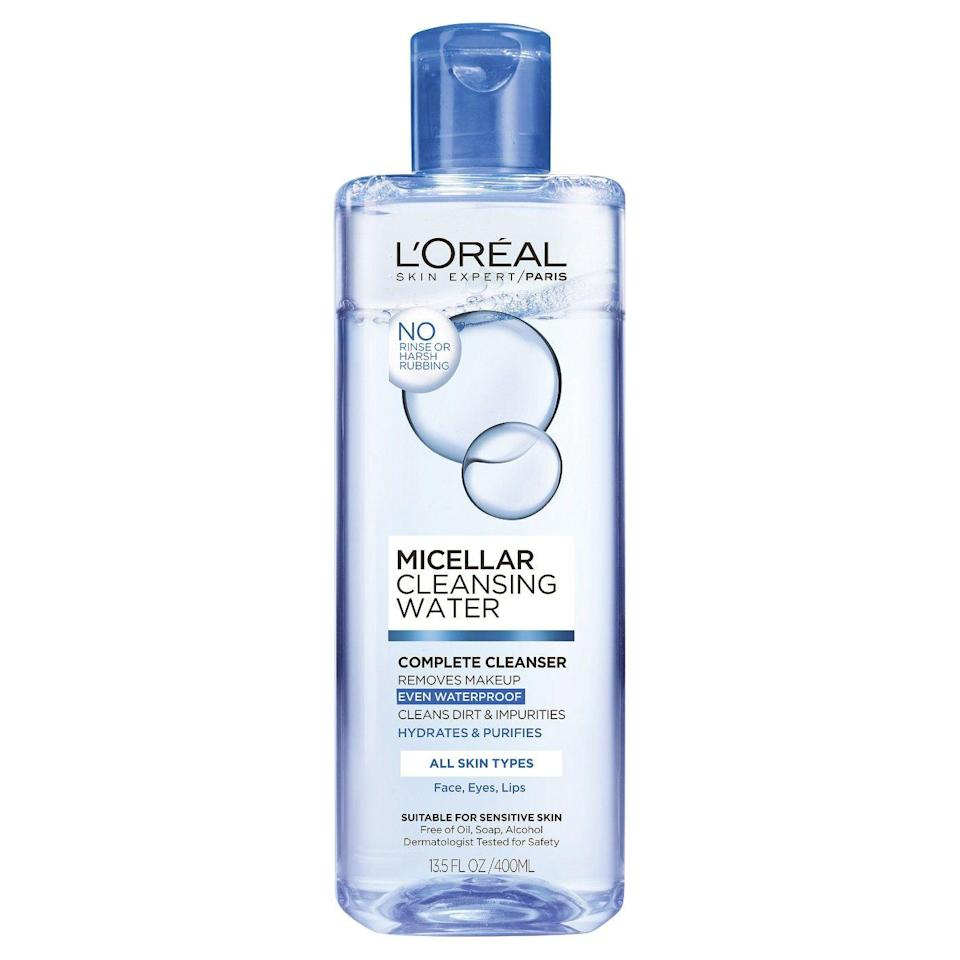 """<p>Simple and <em>très</em> French, this no-fuss cleansing water removes everything — even your most stubborn mascara and <a href=""""https://www.refinery29.com/dark-lipstick-makeup-looks"""" rel=""""nofollow noopener"""" target=""""_blank"""" data-ylk=""""slk:dark lipstick"""" class=""""link rapid-noclick-resp"""">dark lipstick</a>.</p><br><br><strong>L'Oreal Paris</strong> Micellar Cleansing Water , $4.69, available at <a href=""""https://www.target.com/p/l-oreal-174-paris-micellar-cleansing-water-all-skin-types-13-5oz/-/A-51232999"""" rel=""""nofollow noopener"""" target=""""_blank"""" data-ylk=""""slk:Target"""" class=""""link rapid-noclick-resp"""">Target</a>"""