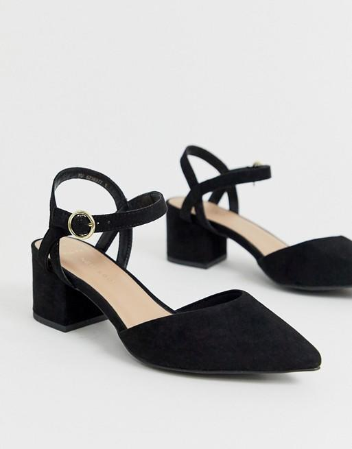 New Look Wide Fit faux suede low block heeled shoes in black