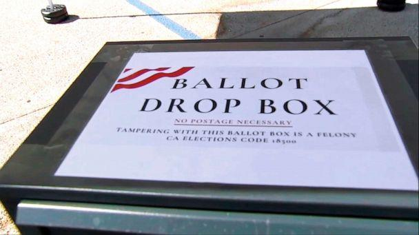 PHOTO: This photo from video provided by ABC7 Los Angeles shows an unofficial ballot drop box at Grace Baptist Church in Santa Clarita, Calif., in October, 2020. California's ballot harvesting law is creating controversy this election year. (ABC7 Los Angeles via AP)