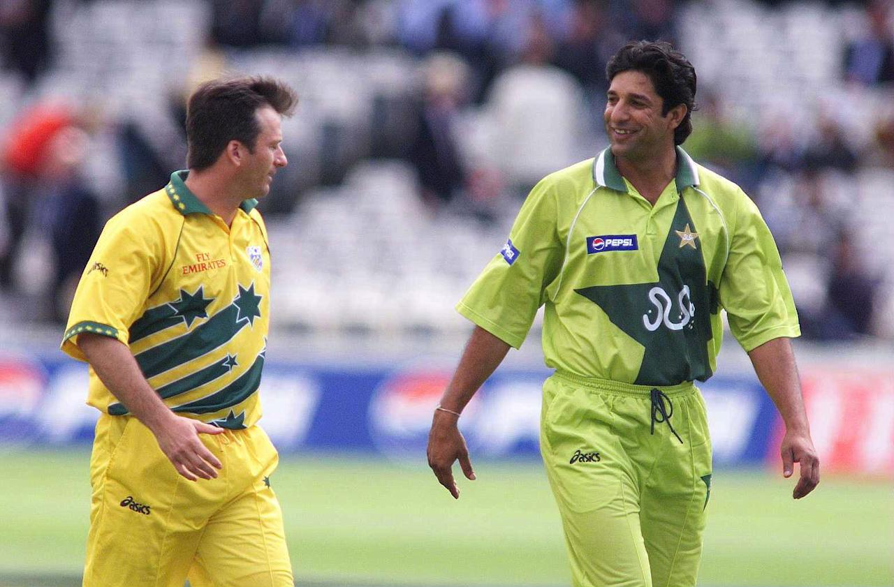 20 Jun 1999:  Australia captain Steve Waugh chats with Pakistan captain Wasim Akram after the toss before the 1999 Cricket World Cup Final between Australia and Pakistan at Lords Cricket Ground, London, England. Mandatory Credit: Clive Mason/ALLSPORT