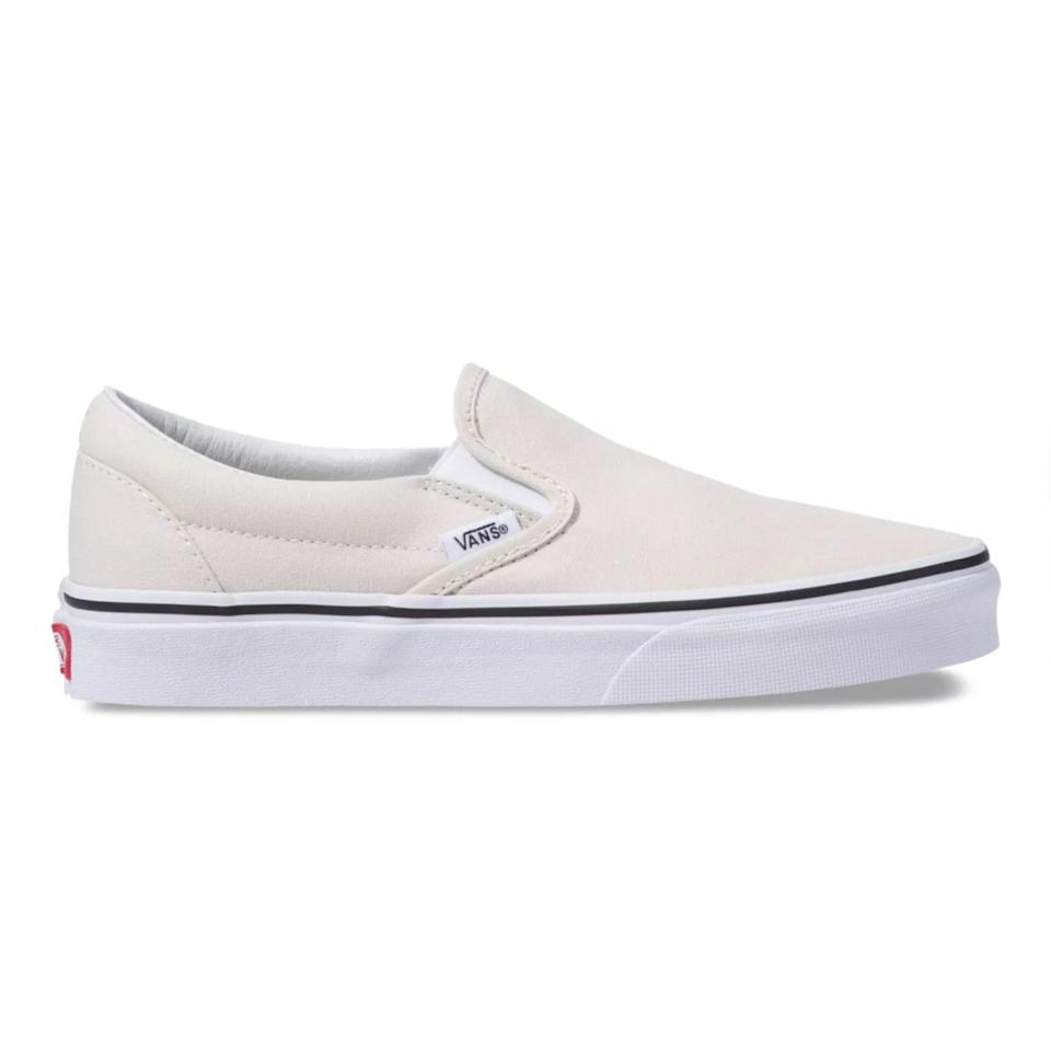 """Another day, another easy, breezy option. This time in the form of forever-favorite Vans slip-on sneakers. For those of you who <em>can't</em> with stark-white shoes, tone the brightness down with a pair of birch sneakers. $50, Vans. <a href=""""https://www.vans.com/shop/slip-on-birch-true-white?"""" rel=""""nofollow noopener"""" target=""""_blank"""" data-ylk=""""slk:Get it now!"""" class=""""link rapid-noclick-resp"""">Get it now!</a>"""