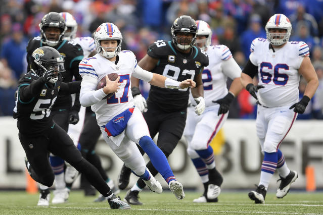 Josh Allen's scrambling ability is something defenses will have to plan for when facing the Bills. (AP)
