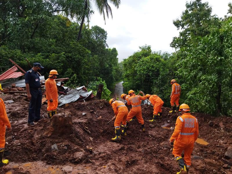 Search and rescue operation after a landslide following heavy rains in Ratnagiri district