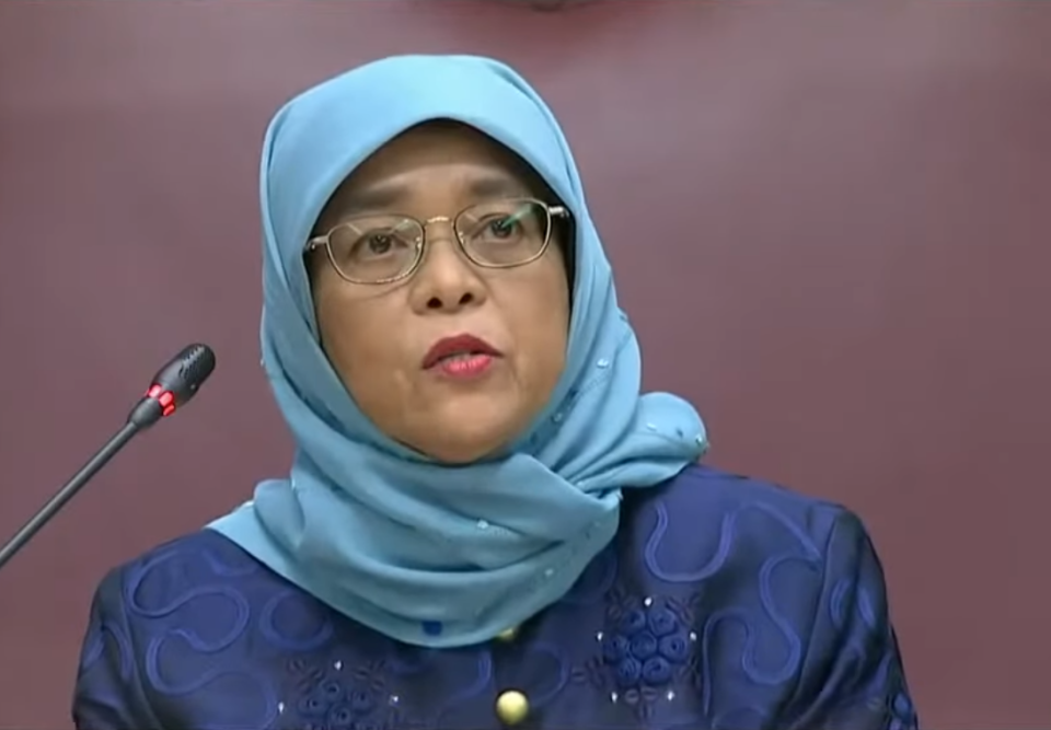 Singapore's President Halimah Yacob delivers the Presidential Address to the 14th Parliament on Monday, 24 August 2020. SCREENCAP: Mediacorpo telecast