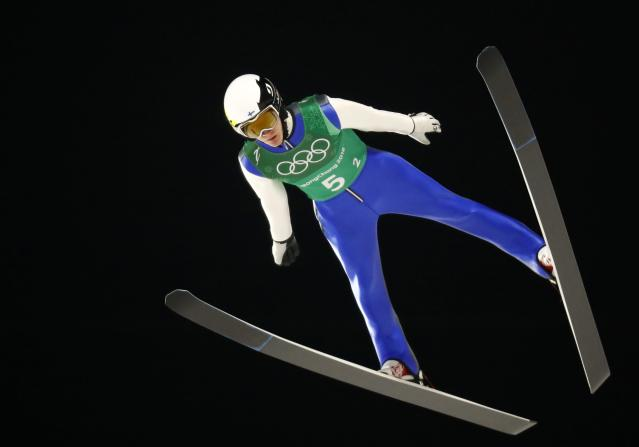 Ski Jumping - Pyeongchang 2018 Winter Olympics - Men's Team Trial round - Alpensia Ski Jumping Centre - Pyeongchang, South Korea - February 19, 2018 - Andreas Alamommo of Finland competes. REUTERS/Dominic Ebenbichler