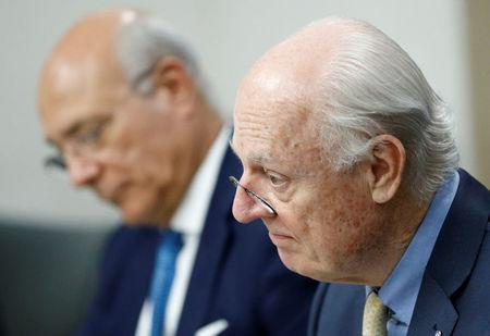 United Nations Special Envoy for Syria Staffan de Mistura attends a round of negotiation with the Syrian government during the Intra Syria talks, at the European headquarters of the United Nations in Geneva, Switzerland March 29, 2017. REUTERS/Denis Balibouse