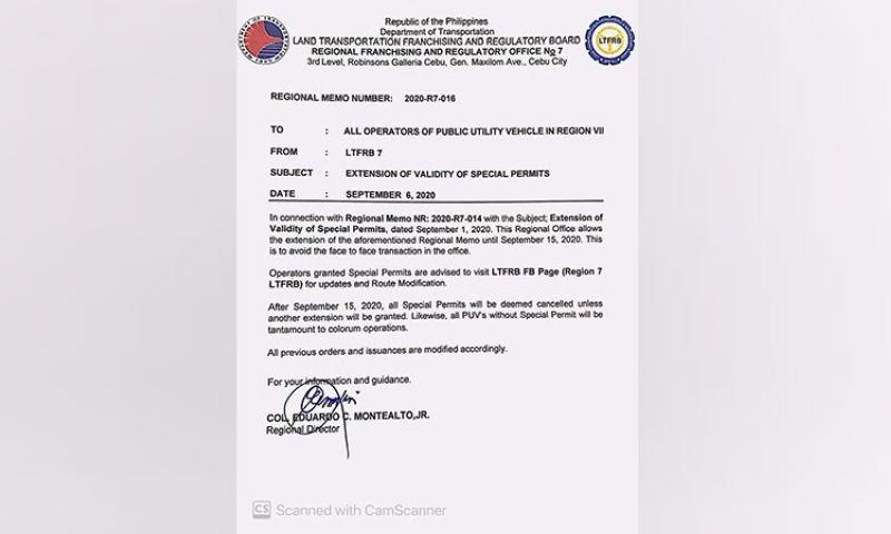 LTFRB-Central Visayas extends validity of special permit