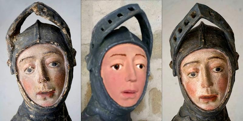 This combination of handout pictures released by the press office of the Navarra Government shows a sculpture of Saint George before restoratin, the botched job and the return to original state. (AFP Photo/Handout)