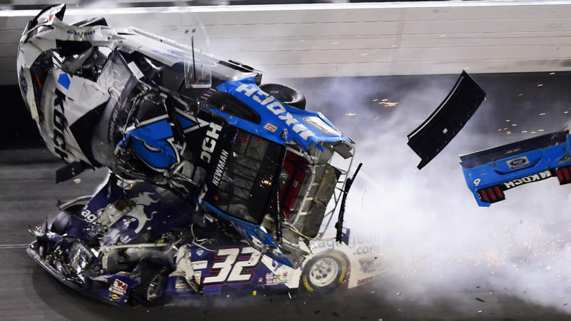 Ryan Newman's car is pictured being crashed into on the final lap of NASCAR's Daytona 500.