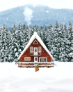 """<p>This quaint cabin is situated between Stowe and Smugglers' Notch, Vermont. The design of the chalet-inspired structure actually dates back to 1934, when architect R.M. Schindler designed a California cabin in the same shape. </p><p><a class=""""link rapid-noclick-resp"""" href=""""https://www.amazon.com/SDBING-Fleece-lined-Christmas-Grippers-Slipper/dp/B01N3QZGMA?tag=syn-yahoo-20&ascsubtag=%5Bartid%7C10072.g.35047961%5Bsrc%7Cyahoo-us"""" rel=""""nofollow noopener"""" target=""""_blank"""" data-ylk=""""slk:SHOP COZY SOCKS"""">SHOP COZY SOCKS</a></p>"""