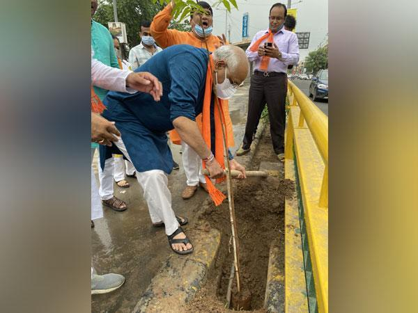 Gujarat CM-elect planting a sapling at an event in his contituency on Sunday morning (Photo/ANI)