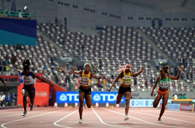 The women's 100m final was run in front of a largely empty stadium (Mike Egerton/PA)