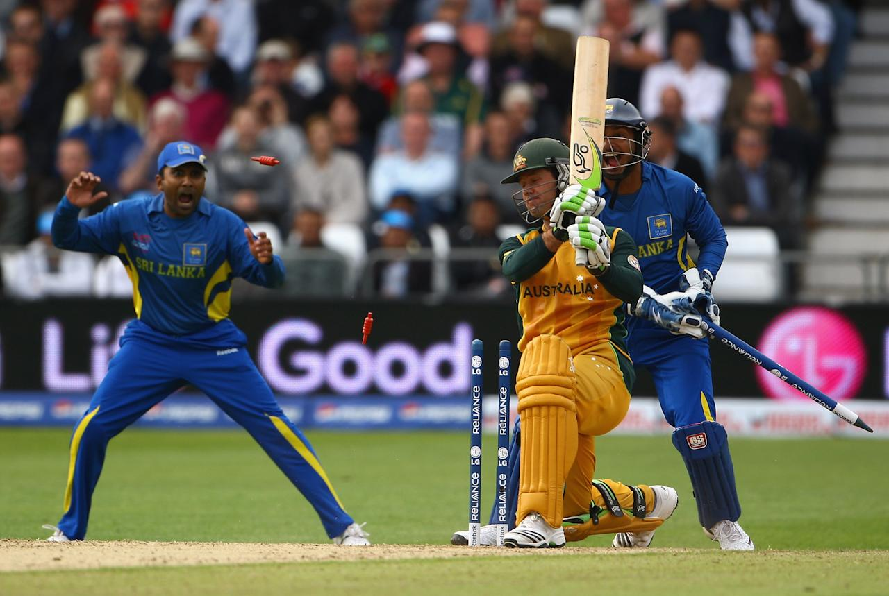 NOTTINGHAM, ENGLAND - JUNE 08:  Ricky Ponting of Australia is bowled out by Ajantha Mendis of Sri Lanka during the ICC World Twenty20 match between Australia and Sri Lanka at Trent Bridge on June 8, 2009 in Nottingham, England.  (Photo by Matthew Lewis/Getty Images)