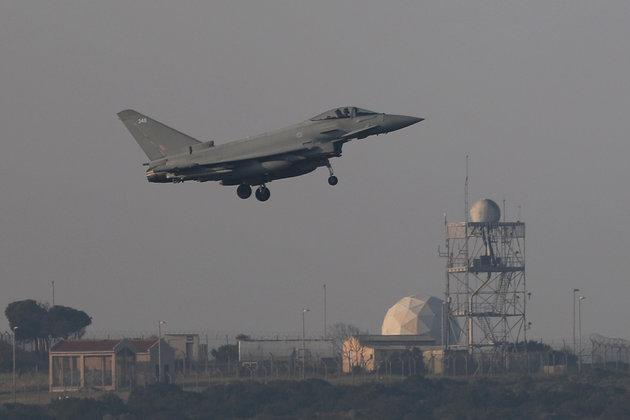 A fighter jet prepares to land at RAF Akrotiri, from which British jets struck Syria