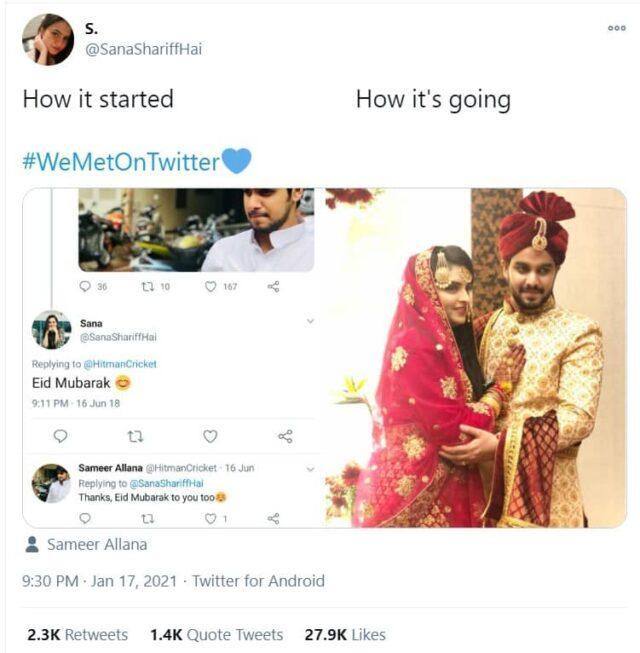 Picture the couple posted on Twitter