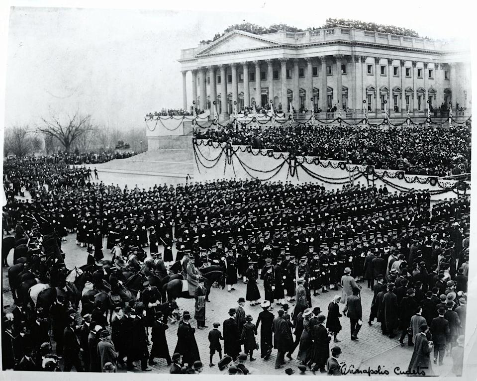 """<p>Woodrow Wilson was inaugurated in 1913; however, the President canceled the traditional inaugural ball, because the country was facing the reality of World War I. Wilson stated that a ball <a href=""""https://www.cbsnews.com/pictures/making-history-at-presidential-inaugurations/12/"""" rel=""""nofollow noopener"""" target=""""_blank"""" data-ylk=""""slk:would be inappropriate"""" class=""""link rapid-noclick-resp"""">would be inappropriate</a>. The decision marked the first time an inaugural ball had been suspended <a href=""""https://www.cbsnews.com/pictures/making-history-at-presidential-inaugurations/12/"""" rel=""""nofollow noopener"""" target=""""_blank"""" data-ylk=""""slk:since 1853"""" class=""""link rapid-noclick-resp"""">since 1853</a>.</p>"""