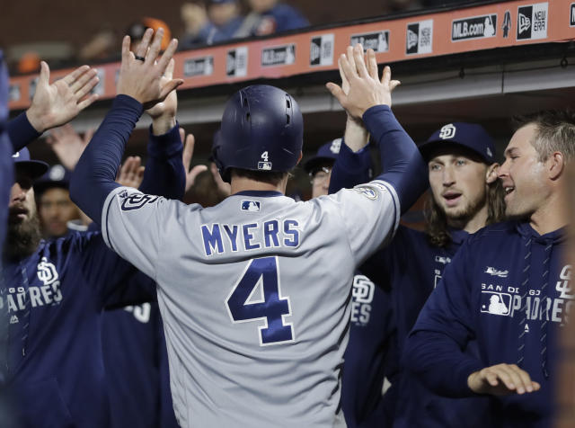 San Diego Padres' Wil Myers (4) is congratulated after hitting a two-run home run off San Francisco Giants' Will Smith during the ninth inning of a baseball game Saturday, Aug. 31, 2019, in San Francisco. (AP Photo/Ben Margot)
