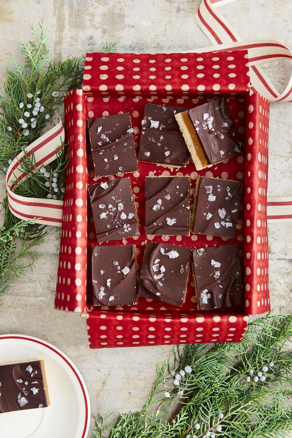 """<p>You'll make 'em feel like a million bucks when you gift these rich and delicious 3-layer bars. <strong><a href=""""https://www.countryliving.com/food-drinks/a34331924/millionaires-shortbread-recipe/"""" rel=""""nofollow noopener"""" target=""""_blank"""" data-ylk=""""slk:Get the recipe"""" class=""""link rapid-noclick-resp""""><br><br>Get the recipe</a>.</strong><br><br><a class=""""link rapid-noclick-resp"""" href=""""https://www.amazon.com/USA-Pan-Bakeware-Rectangular-Aluminized/dp/B0029JOC6I/ref=sr_1_2_sspa?tag=syn-yahoo-20&ascsubtag=%5Bartid%7C10050.g.645%5Bsrc%7Cyahoo-us"""" rel=""""nofollow noopener"""" target=""""_blank"""" data-ylk=""""slk:SHOP BAKING PANS"""">SHOP BAKING PAN<strong>S</strong></a></p>"""
