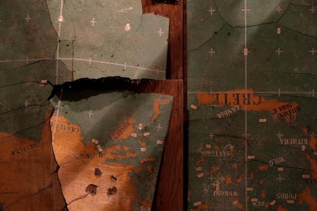 <p>A detail of a map of the Mediterranean is seen in the map room at the Combined Operations Centre, dating back to World War II, in the War Headquarters tunnels beneath Valletta, Malta, Jan. 23, 2017. (Photo: Darrin Zammit Lupi/Reuters) </p>