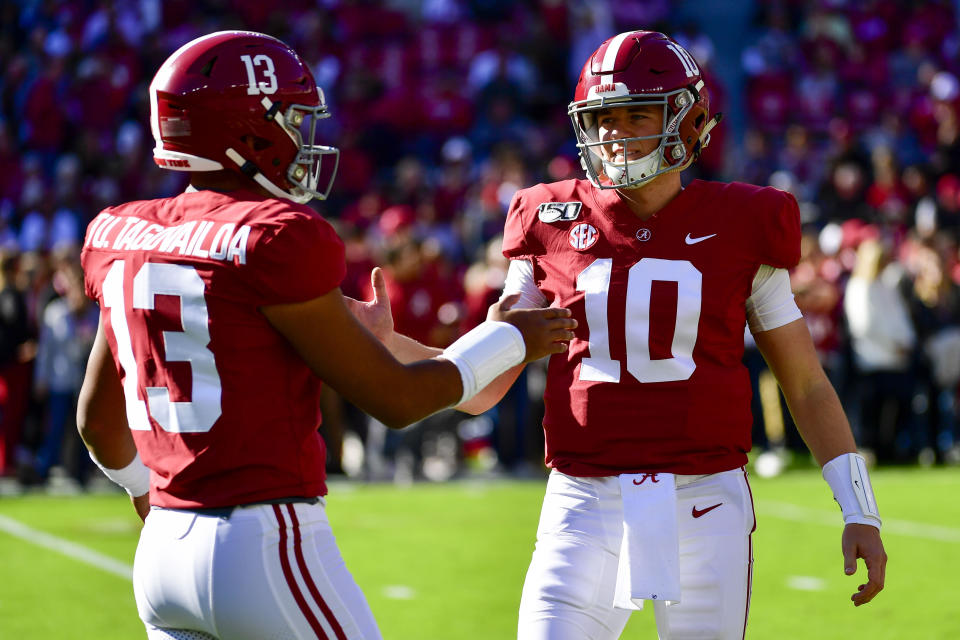 Alabama quarterback Mac Jones, right, was Tua Tagovailoa's backup for two-plus years in college. (AP Photo/Vasha Hunt)