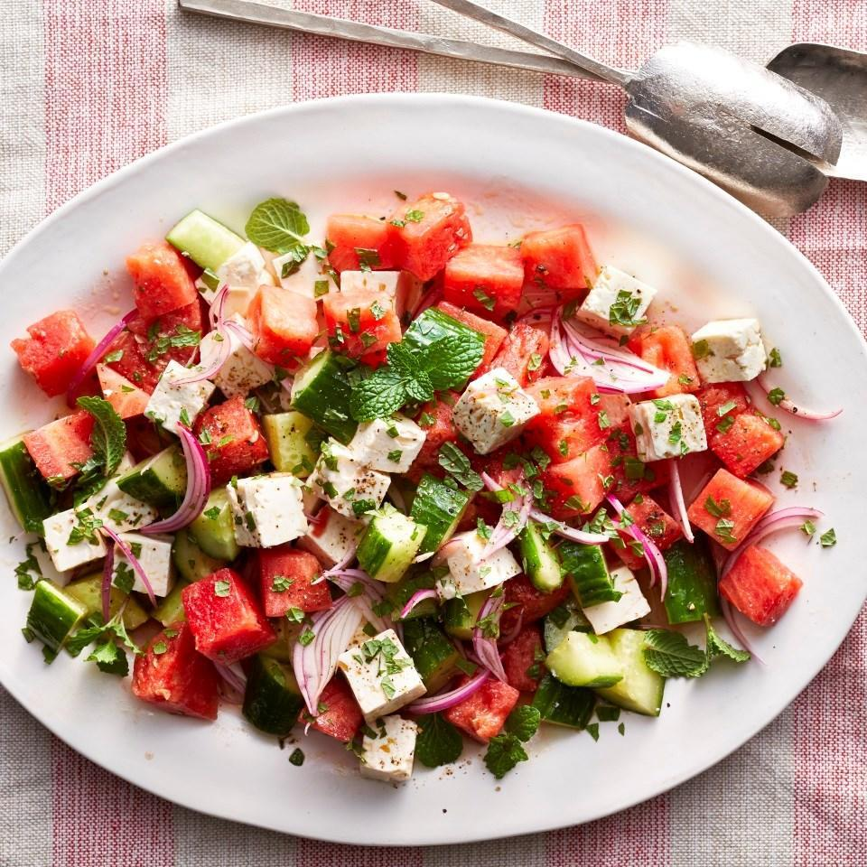 <p>Here's a healthy salad recipe to make at the height of summer when watermelon and cucumbers are at their juiciest and most flavorful. Feta adds the perfect creamy, salty, tangy edge, and mint makes this salad taste even brighter. This is one easy side salad you'll want to serve at all your summer BBQs.</p>