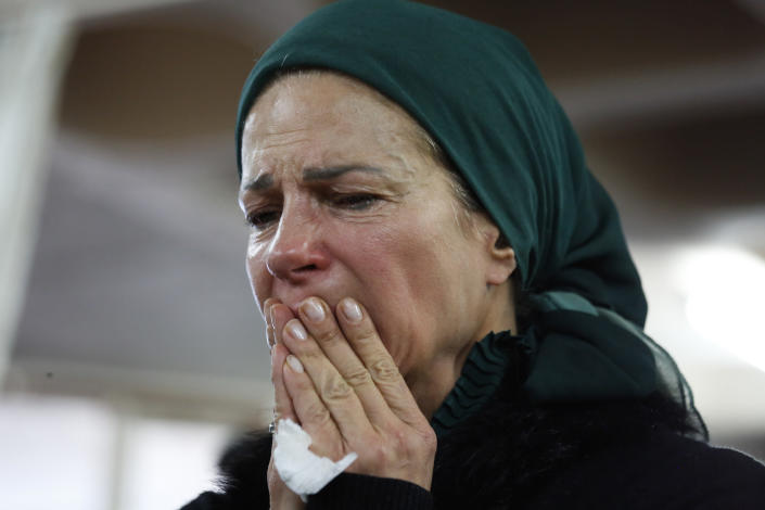 Odel Cohen, mother of Israeli soldier Yosef Cohen mourns during his funeral in Jerusalem, Friday, Dec. 14, 2018. Cohen was one of two Israeli soldiers killed by Palestinian gunman in the West Bank Thursday. (AP Photo/Ariel Schalit)