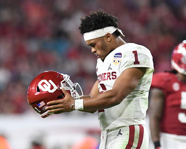 Kyler Murray's magical 2018 season at Oklahoma was strong enough to make him the front-runner for this year's No. 1 overall NFL draft pick. (Getty Images)