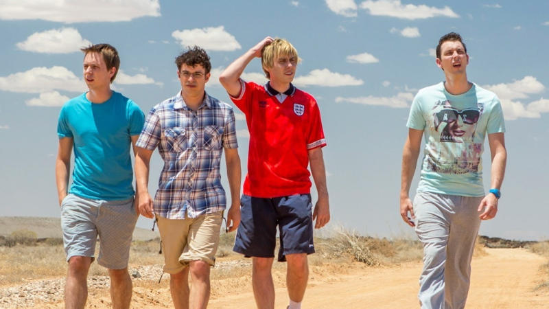 Joe Thomas, Simon Bird, James Buckley and Blake Harrison in 'The Inbetweeners 2'. (Credit: EFD)