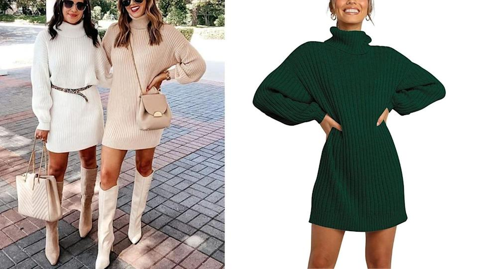 This versatile ribbed sweater dress is the foundation of an ideal fall outfit.