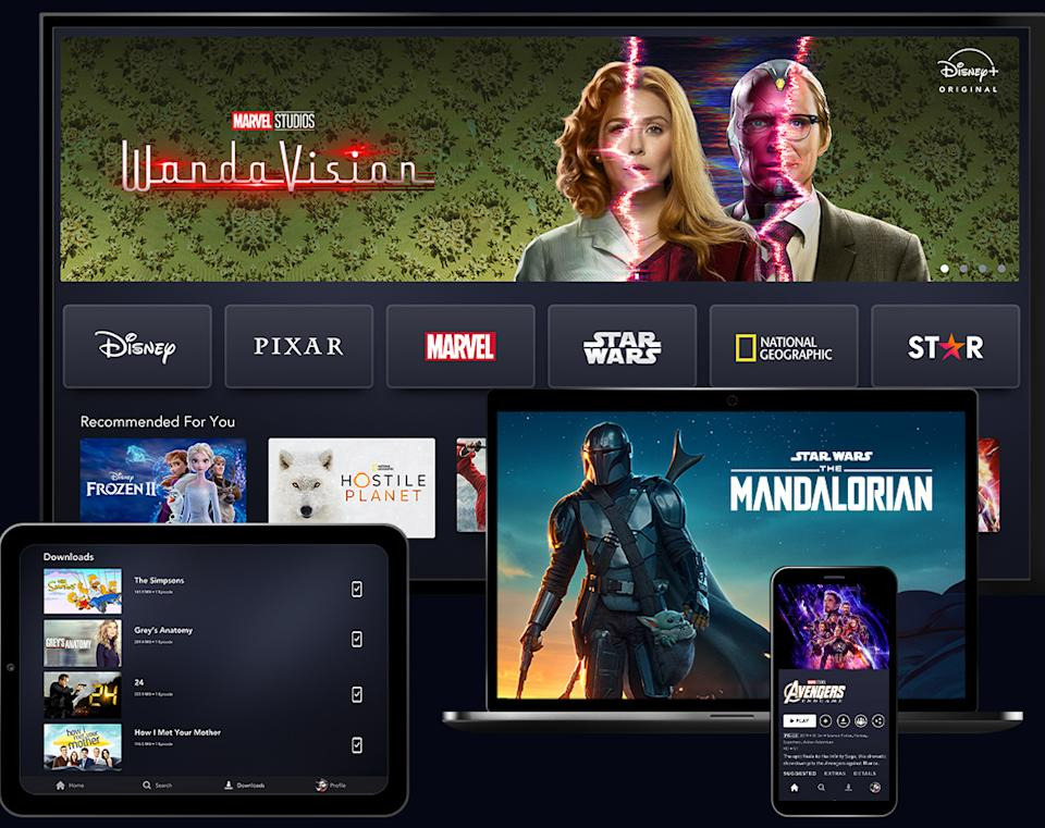 Disney+ will host six brands outside the United States – Disney, Pixar, Marvel, Star Wars, National Geographic and Star.