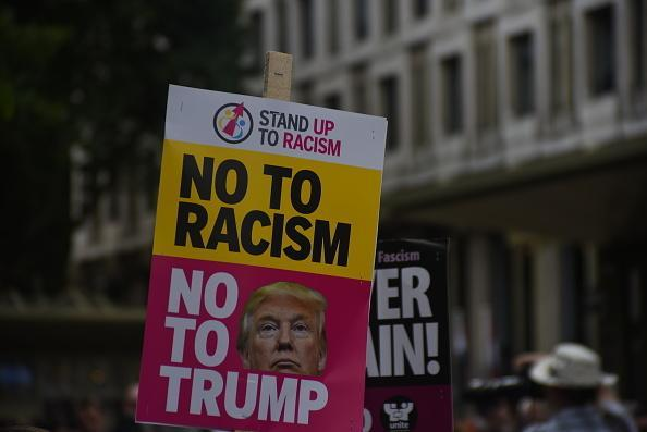 A social media campaign, #TrumpResign hashtag gathered momentum on Twitter, spurred on by actor George Takei and Beau Willimon on Aug. 21, 2017.  Demonstrators gathered outside the American Embassy in Central London, to protest against the racism escalation following the riot in Charlottesville, London on August 19, 2017.