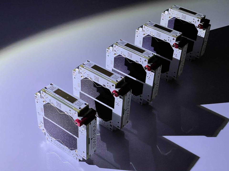 Swarm's sandwich-sized IoT network satellites.