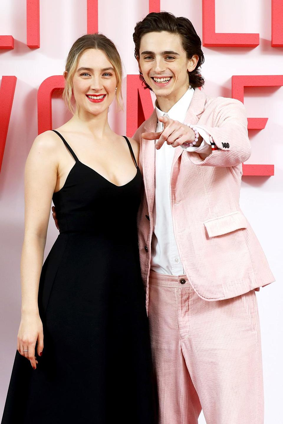 """<p>Chalamet's recurring onscreen love interest and offscreen close pal, Ronan (who starred opposite him in <i>Ladybird</i>, <i>Little Women</i> and the upcoming <i>The French Dispatch) </i>has an affectionate nickname for her beloved costar: """"Pony,"""" she told the <a href=""""https://www.nytimes.com/2018/01/31/arts/saoirse-ronan-timothee-chalamet-lady-bird-call-me-by-your-name.html"""" rel=""""nofollow noopener"""" target=""""_blank"""" data-ylk=""""slk:New York Times"""" class=""""link rapid-noclick-resp""""><i>New York Times</i></a>, """"Because he'll come up to [<i>Little Women</i> and <i>Ladybird</i> director Greta Gerwig] and me and nuzzle us.""""</p> <p>""""I always knew he was very special. And he was very magnetic as an actor. We've always just felt very comfortable with one another,"""" Ronan said to <a href=""""https://www.dazeddigital.com/film-tv/article/50451/1/saoirse-ronan-talks-timothee-chalamet-i-always-knew-he-was-very-special"""" rel=""""nofollow noopener"""" target=""""_blank"""" data-ylk=""""slk:Dazed"""" class=""""link rapid-noclick-resp""""><i>Dazed</i></a> of their chemistry. </p> <p>""""We're very different in the way we work and the kind of performances that we give, and that really excites me – how different we both are. He's someone who I want to continue to work with because I'm just quite interested to see how it goes,"""" she continued. """"As we get older and when we have more and more experience, what it's like when we come back together.""""</p>"""