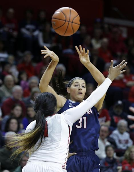 Connecticut center Stefanie Dolson (31) throws a pass over Rutgers center Rachel Hollivay (1) during the first half of an NCAA college basketball game Sunday, Jan. 19, 2014, in Piscataway, N.J. (AP Photo/Mel Evans)