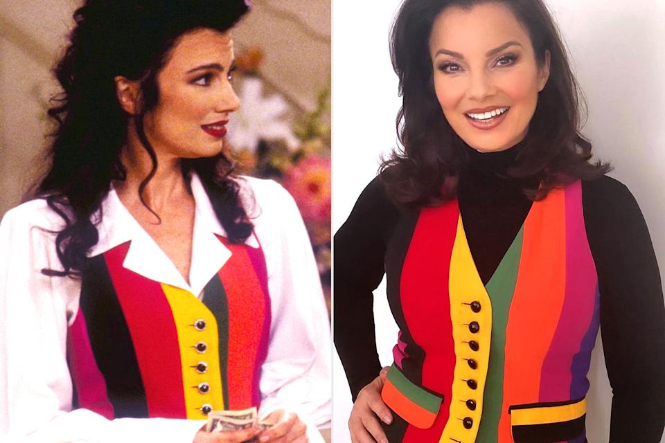 """<p>The sitcom star <a href=""""https://people.com/style/fran-drescher-rewears-her-rainbow-moschino-vest-from-the-nanny/"""" rel=""""nofollow noopener"""" target=""""_blank"""" data-ylk=""""slk:got back into character"""" class=""""link rapid-noclick-resp"""">got back into character</a> in the rainbow Moschino vest she wore as Fran Fine-Sheffield on the hit '90s show.</p>"""